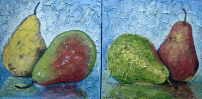 "2 Pairs of Pears, Diptych, Acrylic on canvas, 16"" x 32"" in two pieces, 2009"