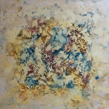 """Abstract in Blues, Reds and Yellows, acrylic on canvas, 24"""" x 24"""", 2009"""