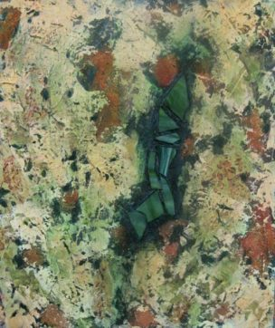 "Abstract in Green and Iron Oxide with stained glass, acrylic on canvas with stained glass, 20"" x 24"", 2010"