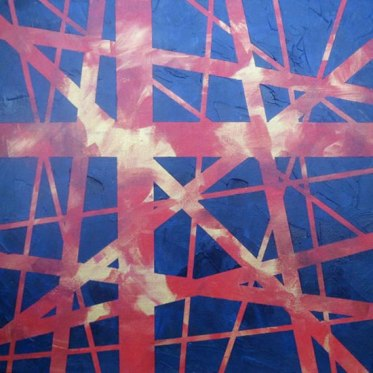 """Abstract in Red, Gold and Blue, acrylic on canvas, 18"""" x 18"""", 2009"""