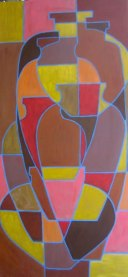 "Abstracted urns, acrylic on canvas 24"" x 48"", 2011, SOLD"