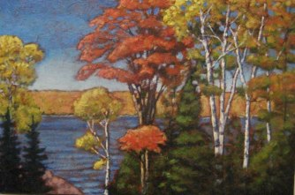 "Along Drag Lake in Autumn, acrylic on texturized canvas, 24 x 36"", 2011, SOLD"