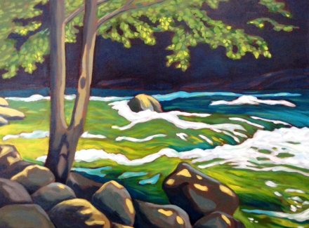 "Along the Gull R. Near Minden, acrylic on canvas, 18"" x 24"""