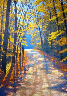 "Autumn Glory on Boice Bradley Road, acrylic on texturized canvas, 36"" x 26"", SOLD"
