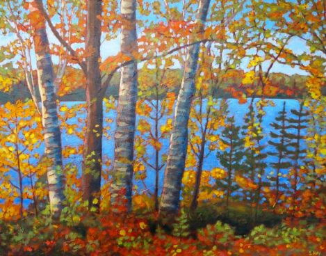 "Autumn Glory on Wenona Lake, acrylic on texturized canvas, 22"" x 28"", SOLD"