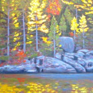 "Autumn on Loon Lake, acrylic on texturized canvas, 30"" x 30"""