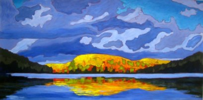 "Autumn Splendour on Portage Lake, acrylic on canvas, 30 x 60"", 2012, SOLD"