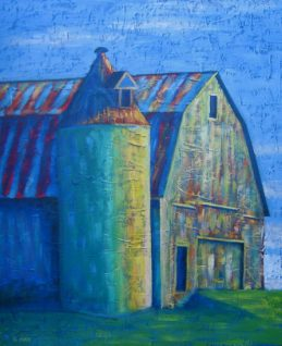 "Barn in Wild Colours, acrylic on canvas, 18"" x 24"", 2009 SOLD"
