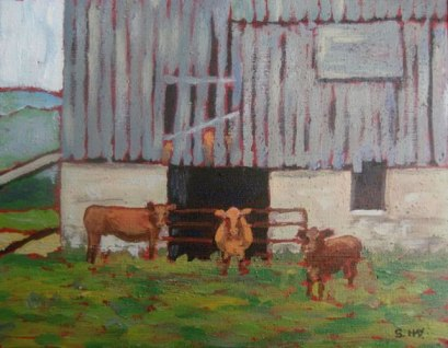"Barn Scene, Huron County, acrylic on texturized canvas, 8"" x 10"", 2010 SOLD"