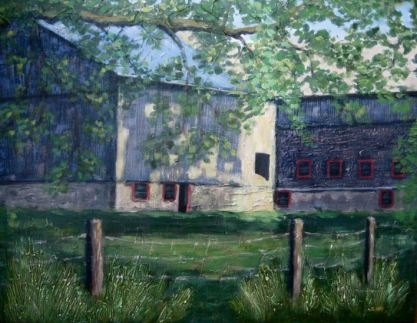 "Barns in Sun and Shadow, Acrylic on textured canvas, 22"" x 28"", 2009 SOLD"