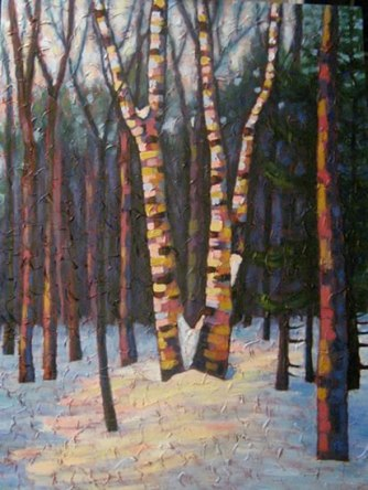 "Birch clump dancing, acrylic on texturized canvas, 40 x 30"", 2011, SOLD"
