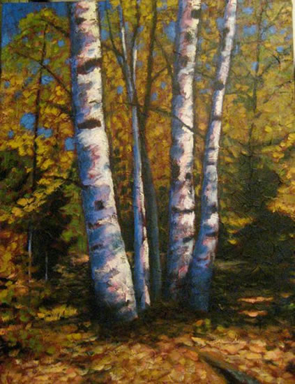 "Birch clump in Autumn, acrylic on texturized canvas, 40"" x 30"", 2011, SOLD"