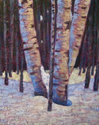 "Birch clump in Winter, acrylic on texturized canvas, 34"" x 30"", 2011 SOLD"