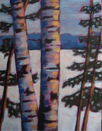 "Birches Along Lake Kashagawigamog in Winter, 16"" x 20"", acrylic on texturized canvas, 2011 SOLD"
