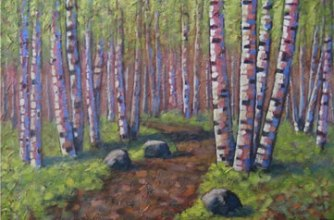 "Path through the birches, 24"" x 36"", acrylic on texturized canvas, 2011, SOLD"