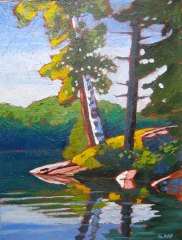 "Birch Point Miniature, acrylic on texturized canvas, 9 x 12"", 2012 SOLD"