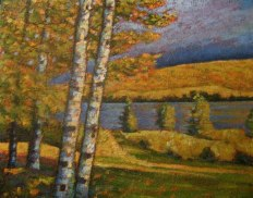 "Portage Lake in Autumn, acrylic on texturized canvas, 24 x 30"", 2011, SOLD"