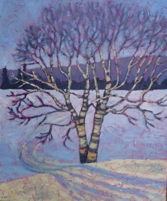 "Birch at Sir Sam's, acrylic on texturized canvas, 20"" x 24"", 2011"