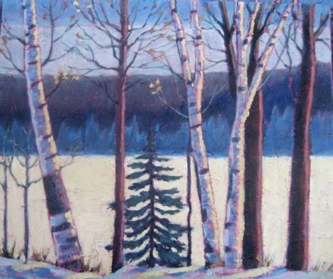 "Birches along Frozen Lake, acrylic on texturized canvas, 20"" x 24"", 2011"