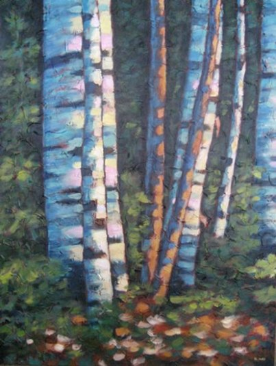"Birches in the Glade, acrylic on texturized canvas, 40"" x 30"", 2011, SOLD"