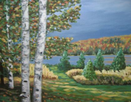 "Birches on Portage Lake, acrylic on canvas, 16"" x 20"", 2007, SOLD"