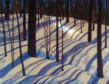 "Blue Ribbon Shadows on Wenona L. Rd, acrylic on canvas, 24"" x 30"""