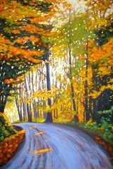 "Boice Bradley Road in Autumn #2, acrylic on canvas, 24 x 36"", SOLD"