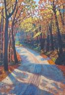 "Boice Bradley Road in Autumn, acrylic on texturized canvas, 24"" x 34"", SOLD"