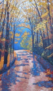 "Boice Bradley Road in Autumn, acrylic on texturized canvas, 24"" x 40"", SOLD"