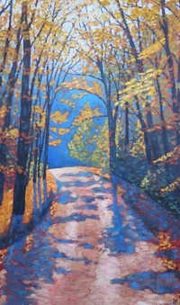 "Boice Bradley Road in Autumn, acrylic on texturized canvas, 24"" x 40"", SOLD"