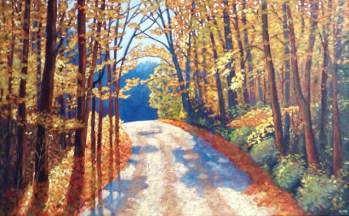 "Boice Bradley Road in Autumn, acrylic on texturized canvas, 30"" x 48"", SOLD"