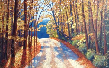 "Boice Bradley Road in Autumn, acrylic on texturized canvas, 30"" x 48"", SOLD"