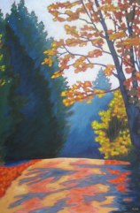 "Boice Bradley Rd. in Autumn #1, acrylic on canvas, 24 x 36"", 2012, SOLD"