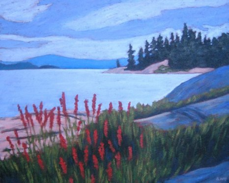 "Cardinal Flowers, Georgian Bay, acrylic on texturized canvas, 14"" x 18"", SOLD"