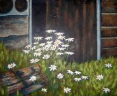 "Daisies in barn doorway, acrylic on texturized canvas, 16"" x 20"", 2010"