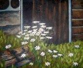 "Daisies in barn doorway, acrylic on texturized canvas, 16"" x 20"", 2010"