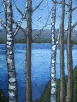 "Looking out over Drag Lake in April, acrylic on texturized canvas, 18"" x 24"", 2009, SOLD"