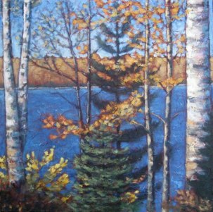 "Birch at Sir Sam's, acrylic on texturized canvas, 20"" x 24"", 2011, SOLD"