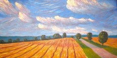 "Dutch Line facing south, Huron County, acrylic on texturized canvas, 24 x 48"", 2012, SOLD"