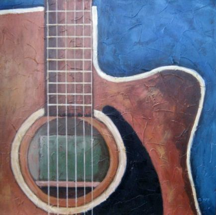 "El Mariachi Closeup, Acrylic on textured canvas, 18"" x 18"", 2009"