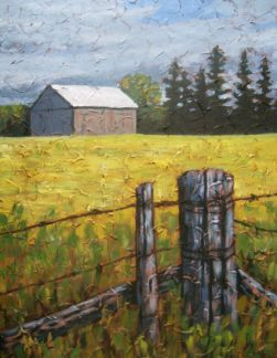 "Farm Scene, acrylic on texturized canvas, 22"" x 28"", 2009 SOLD"