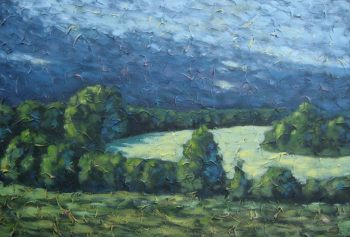 "The Field behind my house, acrylic on texturized canvas, 24"" x 36"", 2009"