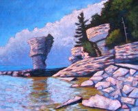 "Flower Pot Island, acrylic on texturized canvas, 24 x 30"", 2012"