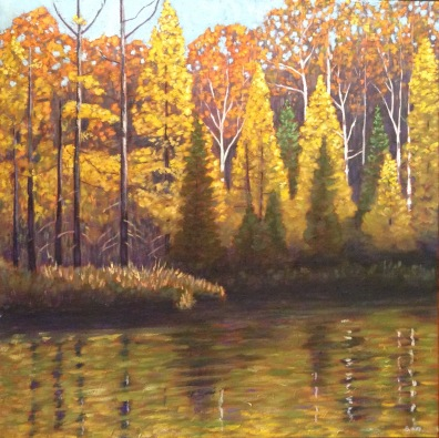 "Golden Tamaracks in Autumn, acrylic on texturized canvas, 30 X 30"""