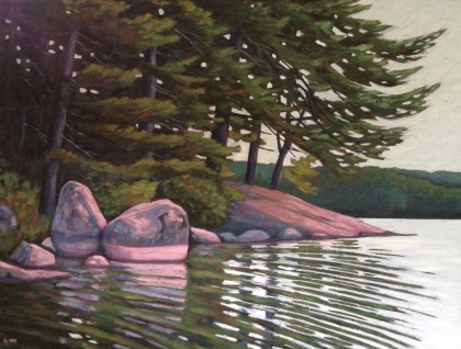 Paddling along Lake St Norah Shoreline, acrylic on texurized canvas, 40 X 30""