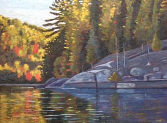 Loon Lake Shoreline in Autumn, acrylic on texturized canvas, 32 X 22""