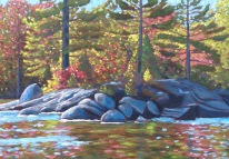 Koshlong Lake shoreline in Autumn, acrylic on texturized canvas