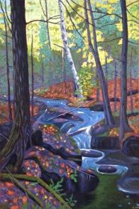 "Waterfall near Haliburton, acrylic on canvas, 18 x 24"", 2017, SOLD"