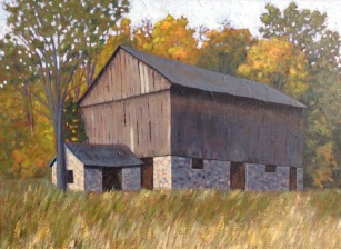 "Old Barn near Haliburton, acrylic on texturized canvas, 32 X 24"", SOLD"