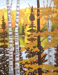 Wenona Lake in Autumn, acrylic on texturized canvas, 22x28""